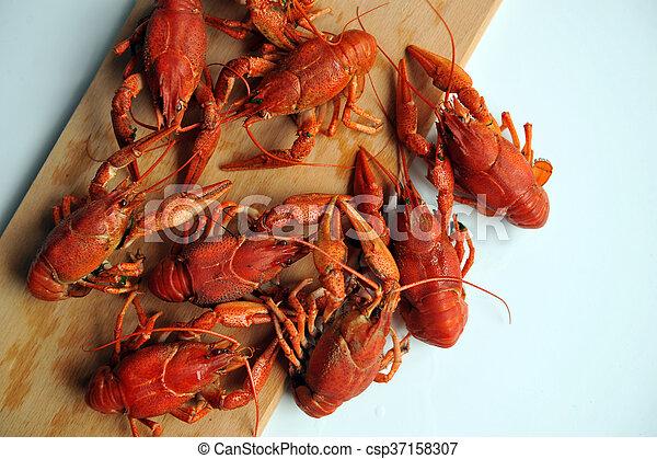 Crayfish cocinado aislado en un fondo blanco. - csp37158307