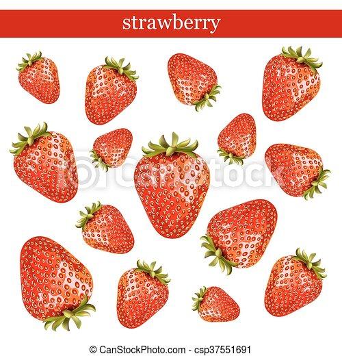 Fresas frescas aisladas en fondo blanco. - csp37551691