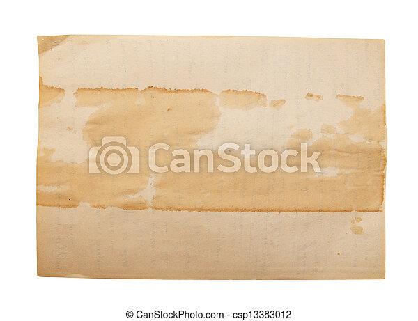 Un viejo papel aislado en un fondo blanco. - csp13383012