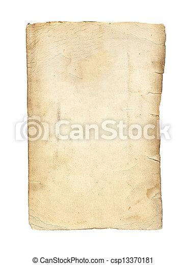 Un viejo papel aislado en un fondo blanco. - csp13370181