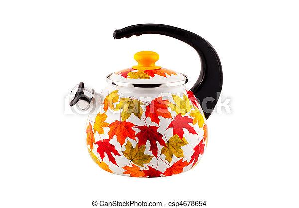 Teapot aislado en el fondo blanco. - csp4678654