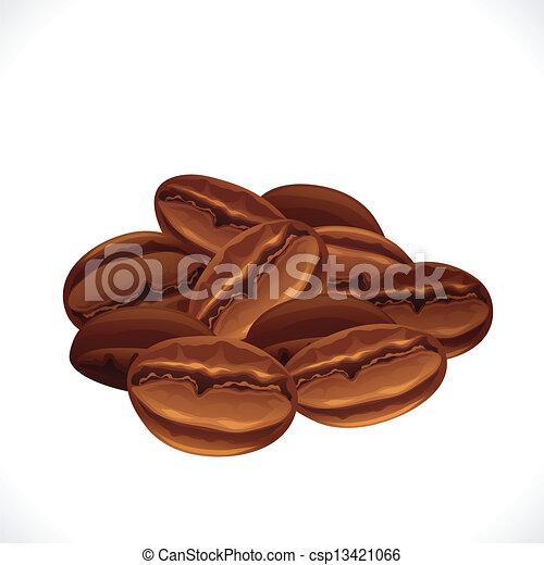 Los granos de café están aislados de fondo blanco. - csp13421066
