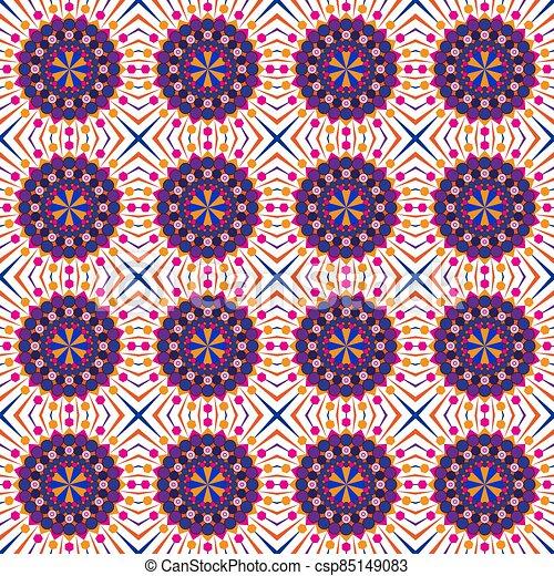 fondo., colorido, geométrico, seamless, vector, patrón, ilustración, mandala - csp85149083