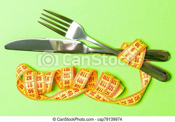 fondo., concepto, verde, pérdida, cima, cuchillo, dieta, peso, cinta, medición, tenedor, vista - csp79139974