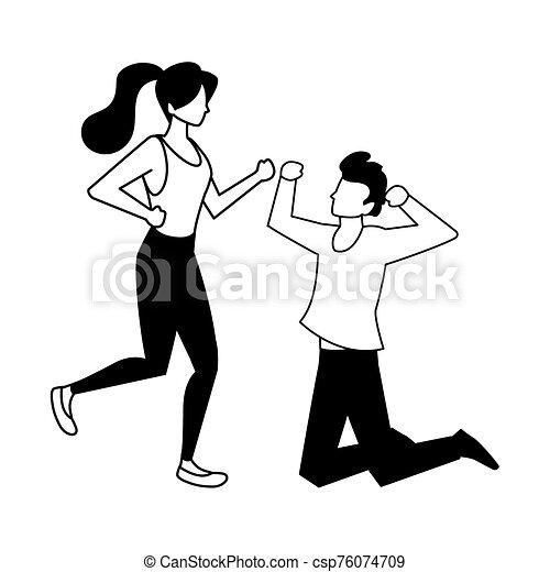 fondo, coppia, bianco, persone, ballo - csp76074709