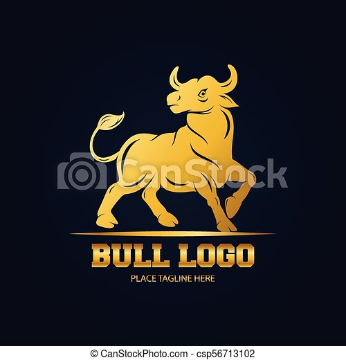 Diseño De Iconos De Toro Dorado En Fondo Negro Ilustración