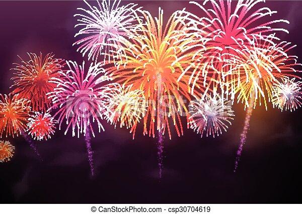 fondo., festivo, colore, firework - csp30704619