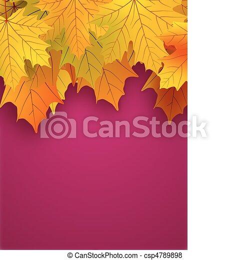 fondo., foglie, rosso giallo, cadere - csp4789898
