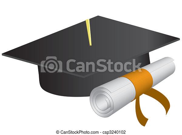 Capa de graduación y diploma en un fondo blanco... ilustración vectora - csp3240102