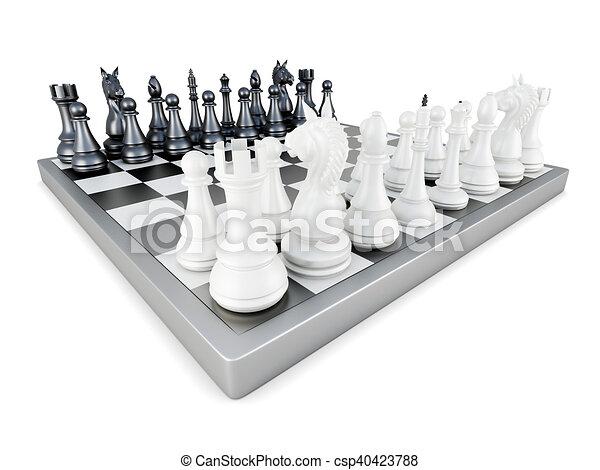 fondo., isolato, interpretazione, scacchi, bianco, 3d - csp40423788
