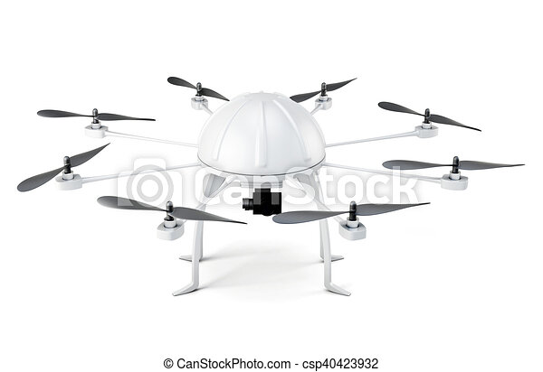 fondo., isolato, interpretazione, bianco, multicopter, 3d - csp40423932