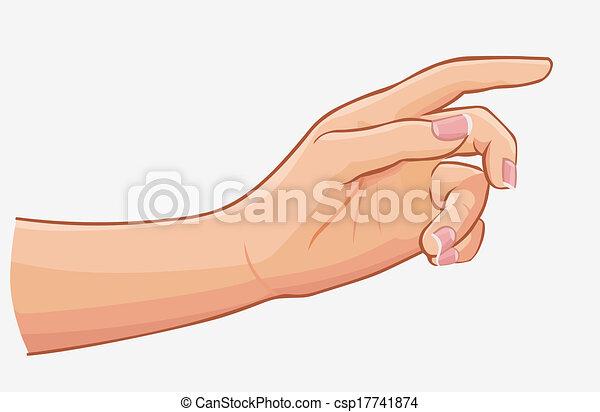 fondo, isolato, mano, toccante, femmina, bianco - csp17741874