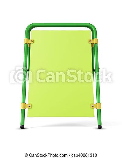 fondo., isolato, promozionale, interpretazione, stare in piedi, verde, pubblicità, sagoma, bianco, design., tuo, 3d - csp40281310