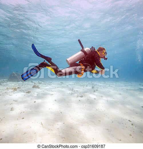 Silueta de buceo cerca del fondo del mar - csp31609187