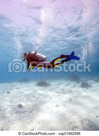Silueta de buceo cerca del fondo del mar - csp31662586