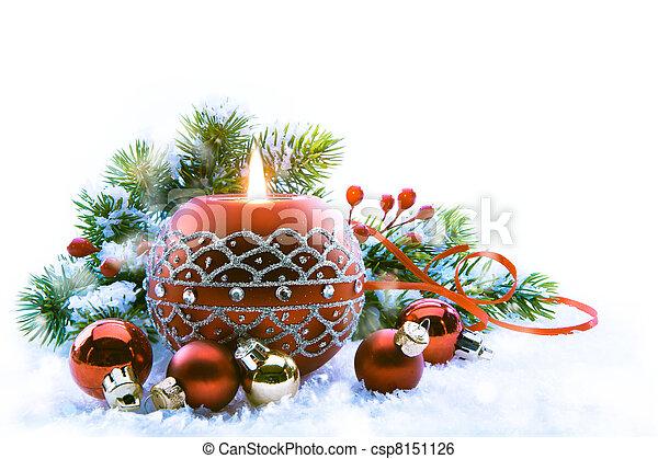 fondo, natale, bianco, decorazioni - csp8151126