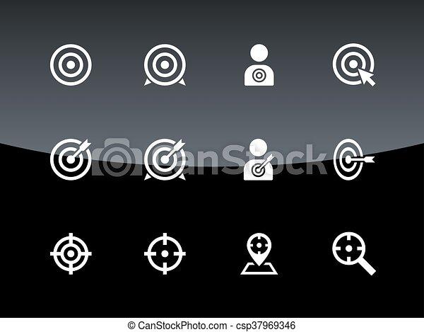 iconos blancos en el fondo negro. - csp37969346