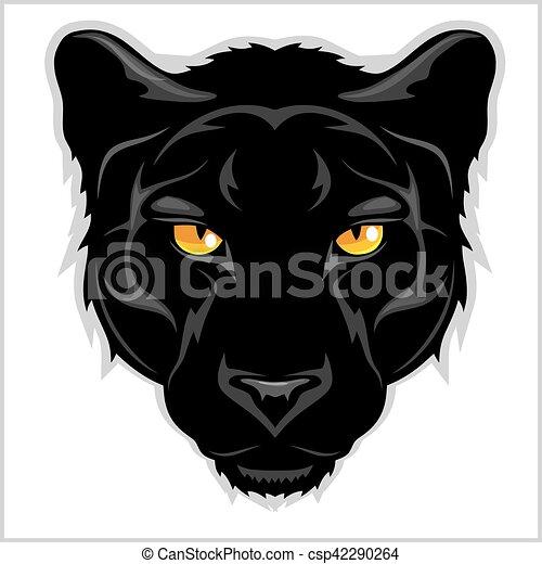 Pantera Negra, de fondo blanco. - csp42290264