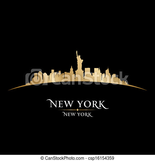 La ciudad de Nueva York silueta de fondo negro - csp16154359