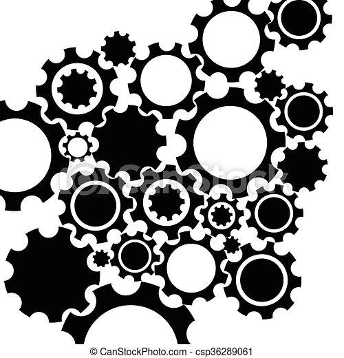 Mecanismo negro fondo. - csp36289061