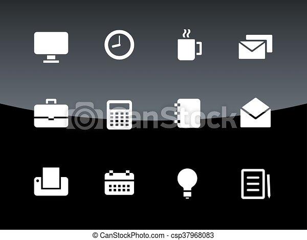 iconos de negocios de fondo negro. - csp37968083