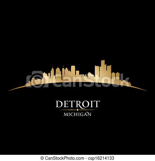 Detroit Michigan City Skyline silueta negro fondo - csp16214133