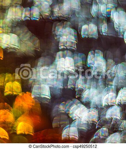 Hermoso fondo con diferentes libros de colores, antecedentes abstractos, formas de libros sobre fondo negro - csp49250512