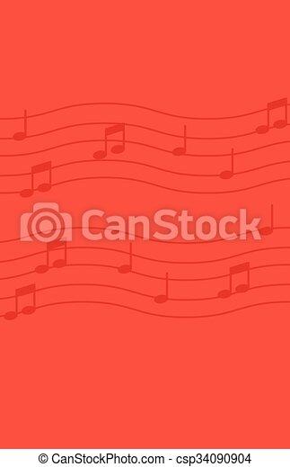 fondo., note, musica, rosso - csp34090904