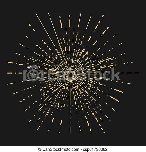 fondo., oro, sol, design., estrella, vendimia, negro, plantilla, rayos, forma - csp81730862