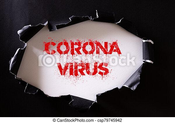 fondo., punta roja, rasgado, vista, texto, papel, coronavirus, atención sanitaria, negro, médico, concept., blanco - csp79745942