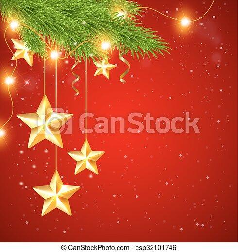 Fondo Rojo Estrellas Navidad