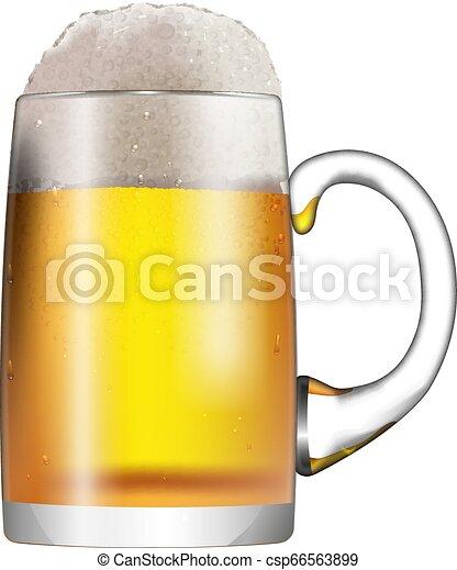 fondo., schiuma, isolato, vetro, birra, tazza bianca - csp66563899