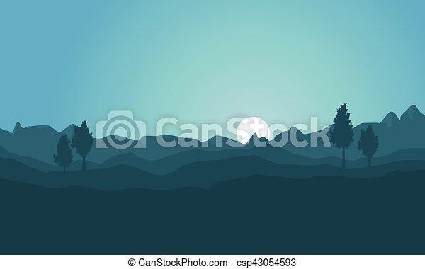 fondo, silhouette, collina, collezione - csp43054593