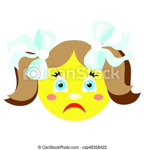Una chica triste y sonriente. Iconos en un fondo blanco. - csp48358422