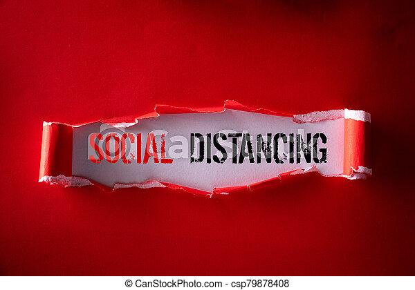 fondo., social, cima, texto, rojo, atención sanitaria, vista, rasgado, negro, papel, distancing, concept., médico - csp79878408