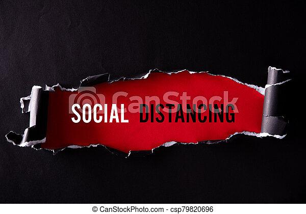 fondo., social, texto, negro rojo, vista, papel, concept., rasgado, médico, cima, distancing, atención sanitaria - csp79820696