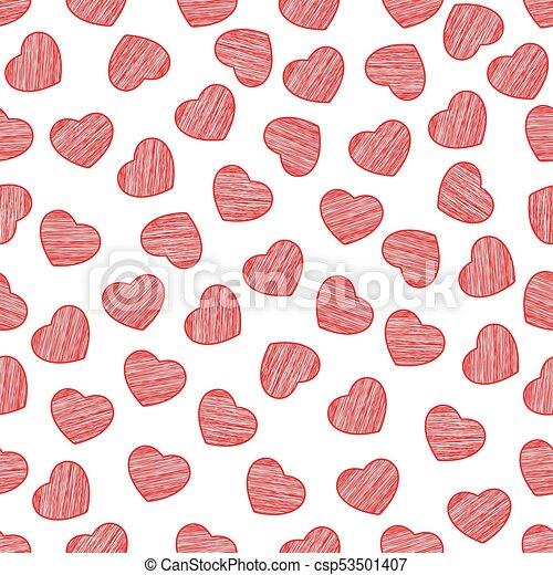 fondo, valentine, dipinto, modello, seamless, day., fondo., scrawl., vector., cuori, bianco, tuo, design. - csp53501407