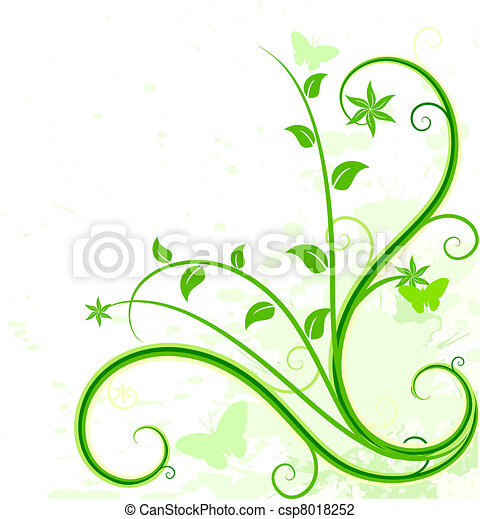 fondo., verde, floreale - csp8018252