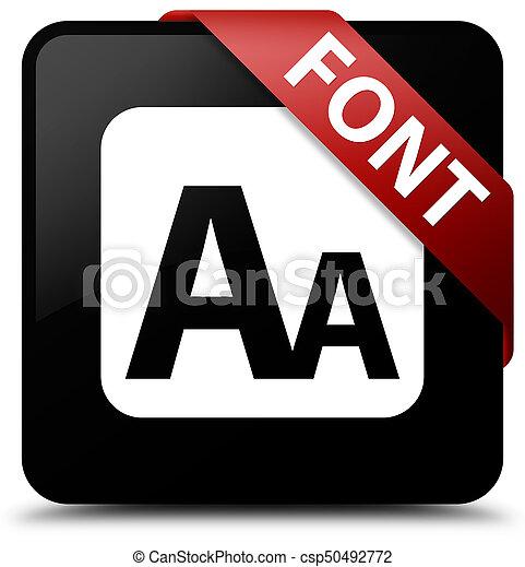 Font black square button red ribbon in corner - csp50492772