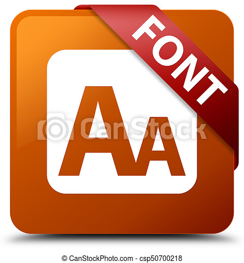 Font brown square button red ribbon in corner - csp50700218