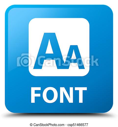 Font cyan blue square button - csp51466577