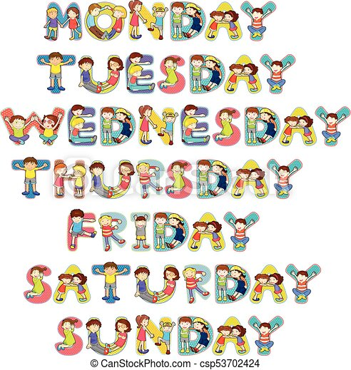 font design for seven days of the week with kids illustration rh canstockphoto com days of the week chart clipart days of the week clipart free