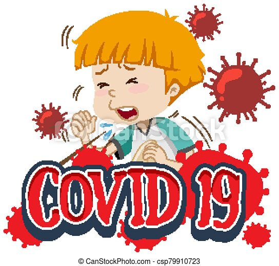 Font design for word covid-19 with boy coughing - csp79910723