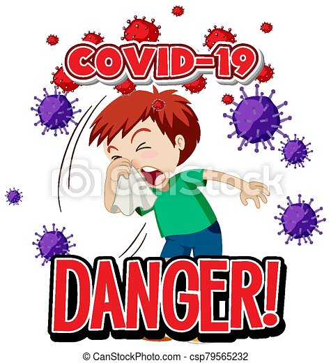 Font design for word danger covid-19 and sick boy coughing - csp79565232