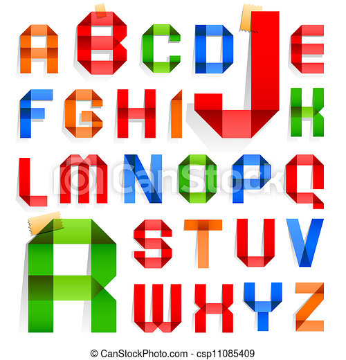 Font folded from colored paper -  Alphabet - csp11085409