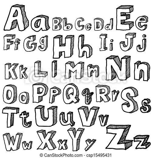 Font Freehand Vector Hand Drawn Alphabet Illustration