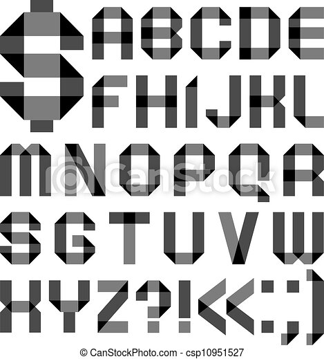 Font from a paper transparent tape - Alphabet letters - csp10951527