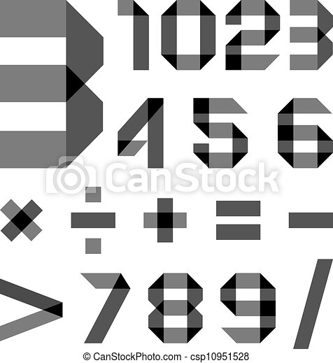 Font from a paper transparent tape - Numerals - csp10951528