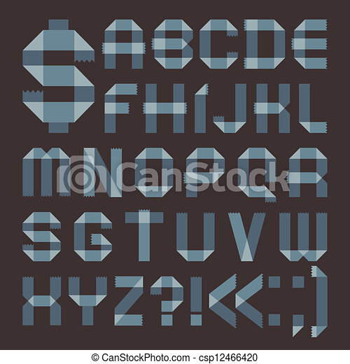 Font from bluish scotch tape -  Roman alphabet - csp12466420