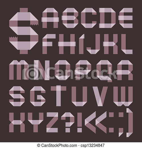 Font from lilac scotch tape -  Roman alphabet - csp13234847
